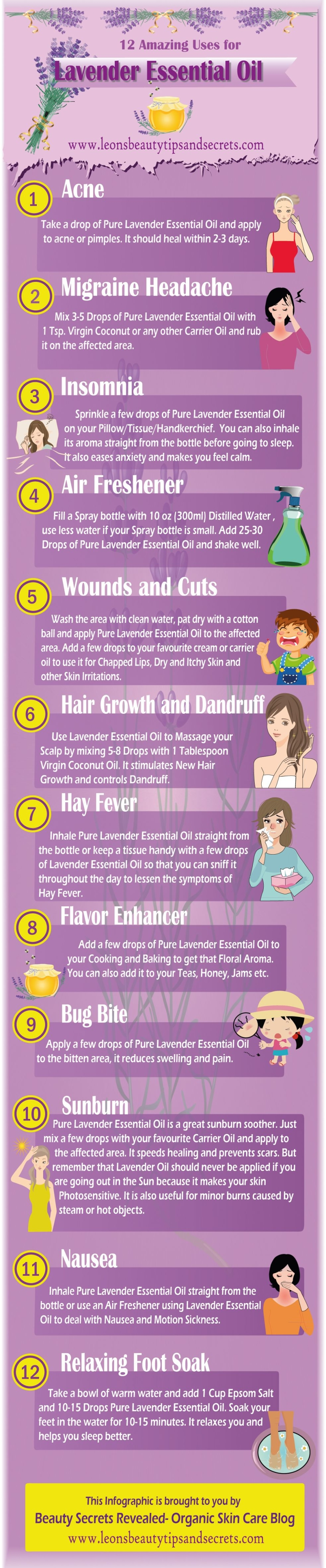 12 Amazing Uses For Lavender Essential Oil Infographic