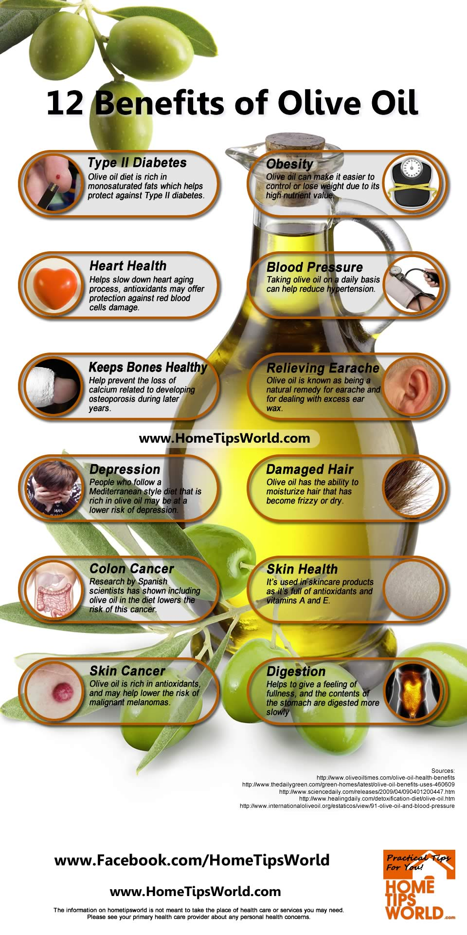 Health benefits of olive oil infographic